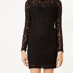 Topshop Paisley Lace High Neck WINE Bodycon Dress
